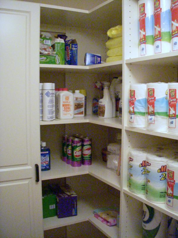 pantry shelves wrap the corner